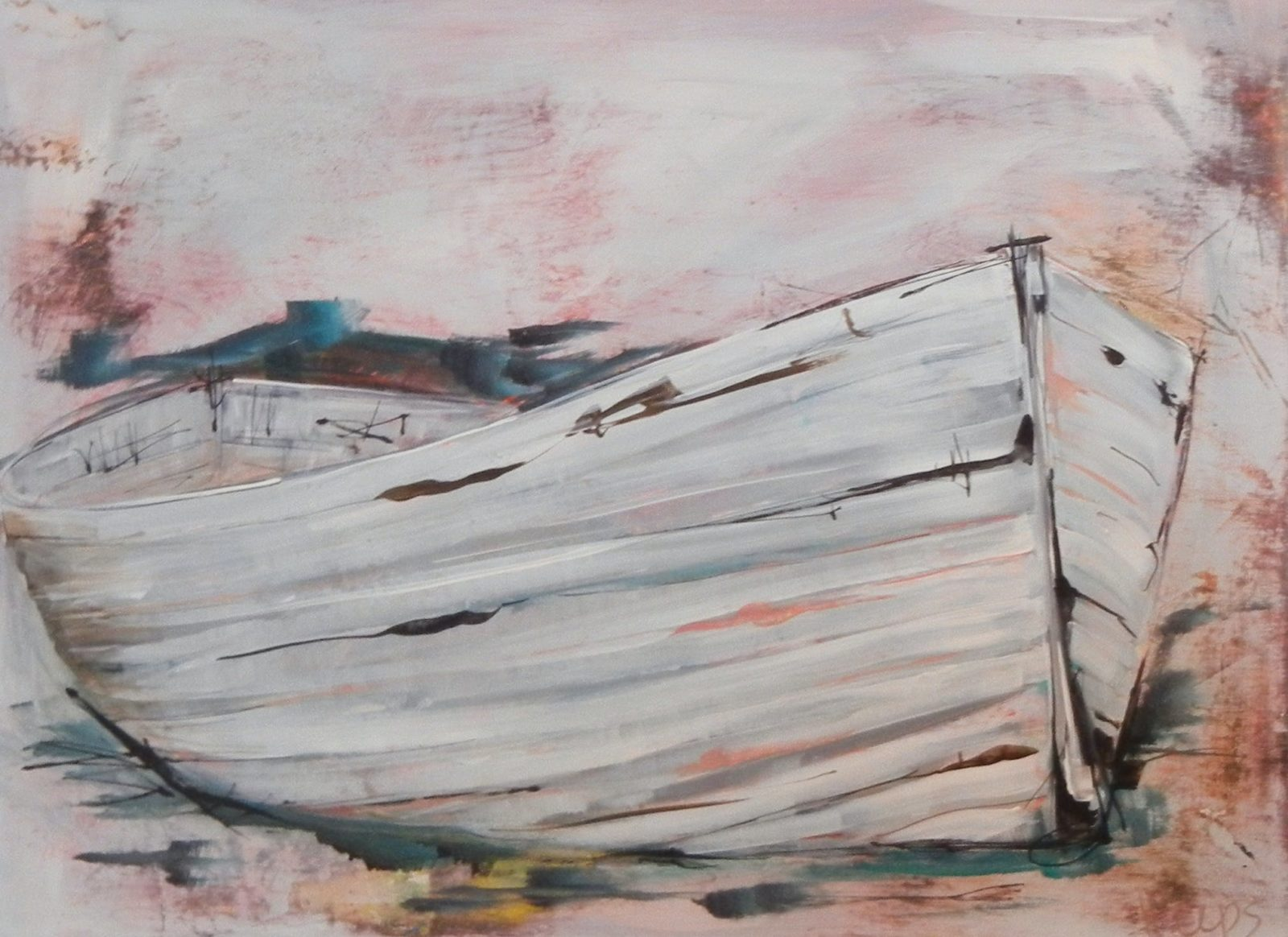 Weathered white boat. Acrylic paint on board 76 x 61cm.