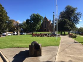 image, cannon, memorial garden, church