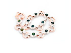 9ct rose gold and sterling silver bracelet with Australian sapphires from Rubyvale