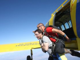 Two skydivers leave the airplane at 15,000 feet