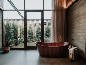 Treatment room featuring stunning red wood bath
