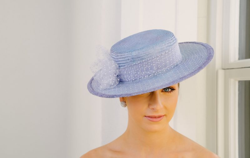 Lavender Boater with spotted tulle