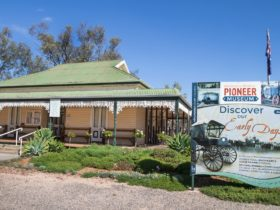 Wimmera Mallee Pioneer Museum front entrance. Homestead with garden and interpretive signs