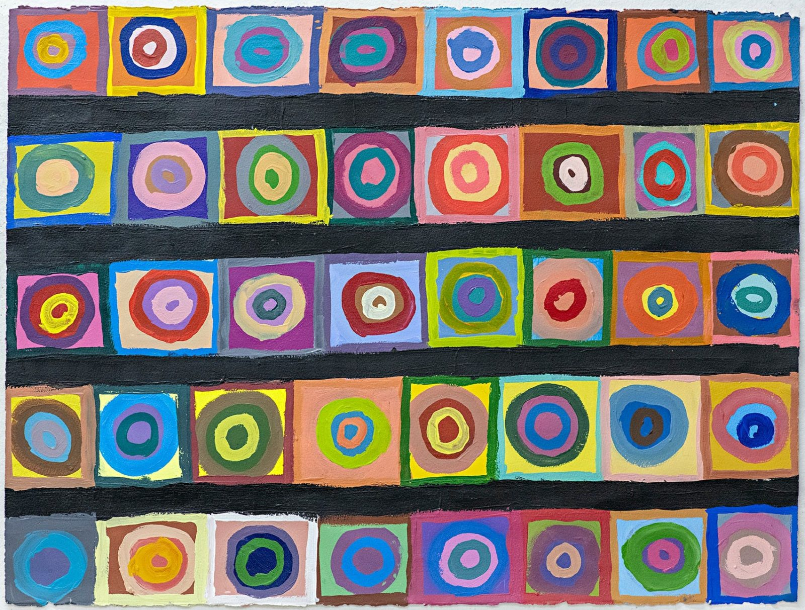 Artwork by Samraing Chea, 4 rows and 6 columns of colourful squares with colourful circles inside.