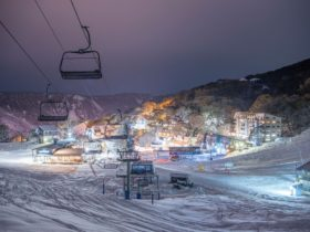 Falls Creek Winter Village Covered in Snow