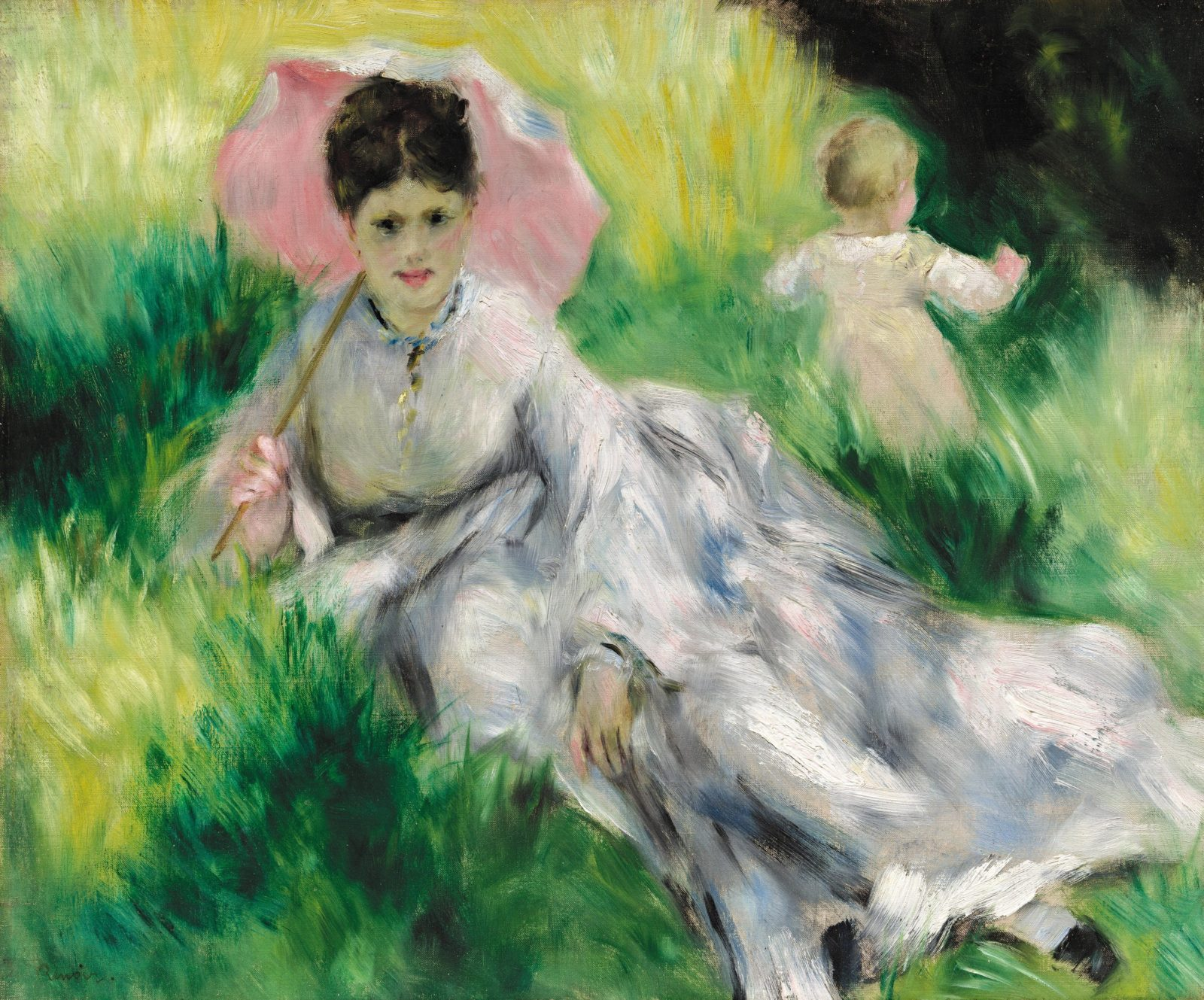 Pierre-Auguste Renoir French 1841–1919 Woman with a parasol and small child on a sunlit hillside