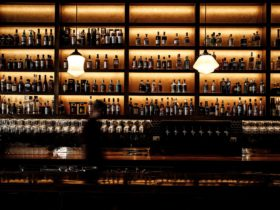 wall of alcohol against back lighting at Roy Hammond bar