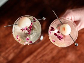 two lychee cocktails in coupe glasses