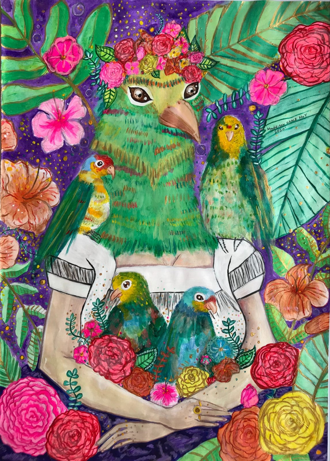 """""""Kahlo"""" (detail), (2020), acrylic paint on paper"""