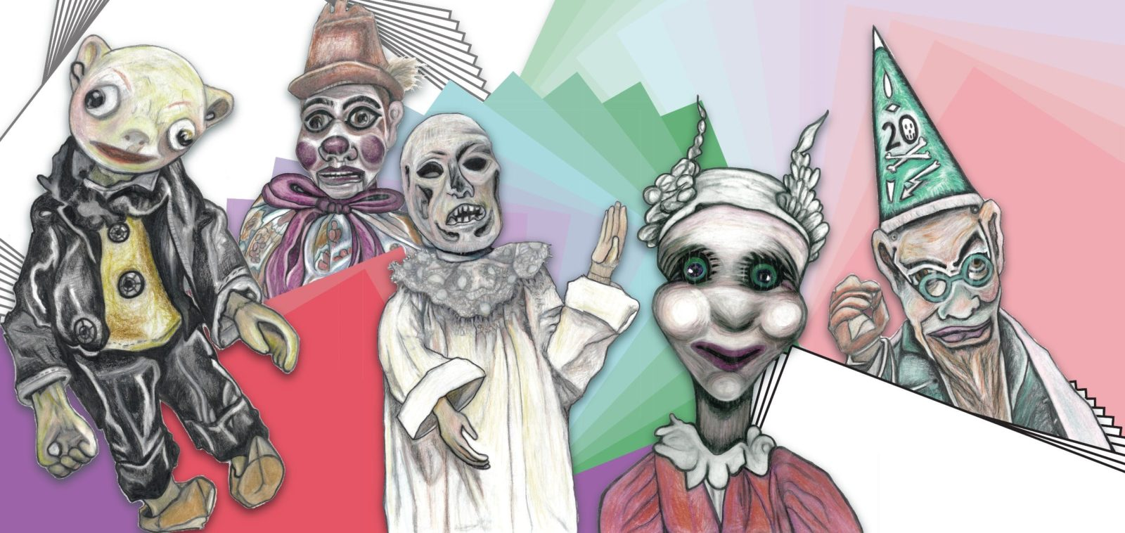 A collage of colourful puppets