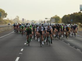 The riders on their way in the Melbourne to Warrnambool
