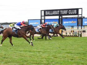 Horses crossing the line in the Sportsbet Ballarat Cup
