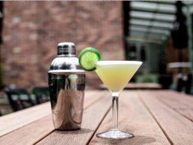 gin summer cocktail with silver cocktail shaker at main bar in ballarat