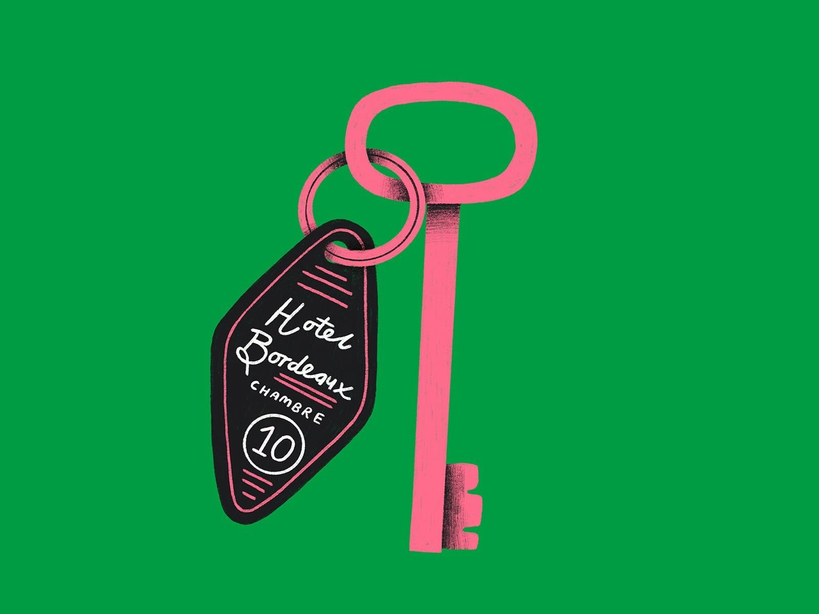 Pink hotel room key overlayed on green background