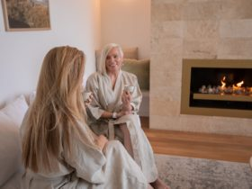 ladies in day spa lounge