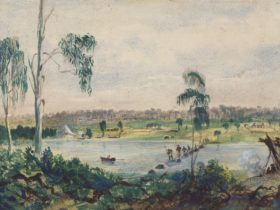 drawing showing the Yarra River in 1837. A line of First Nations people cross a stone bridge.