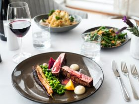 Spring lamb, sides of cauliflower and beans, red wine, beautifully prepared by the Atrium team