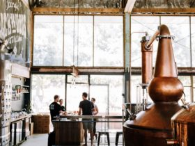 View of the tasting room with the copper stills