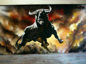 The iconic Bull Bar painting by Heesco Khosnaran, internationally acclaimed street artist.