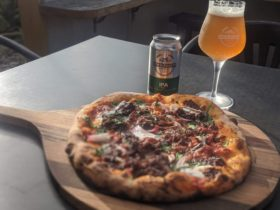 Woodfire Pizza matched perfectly with Sow & Piglet beer