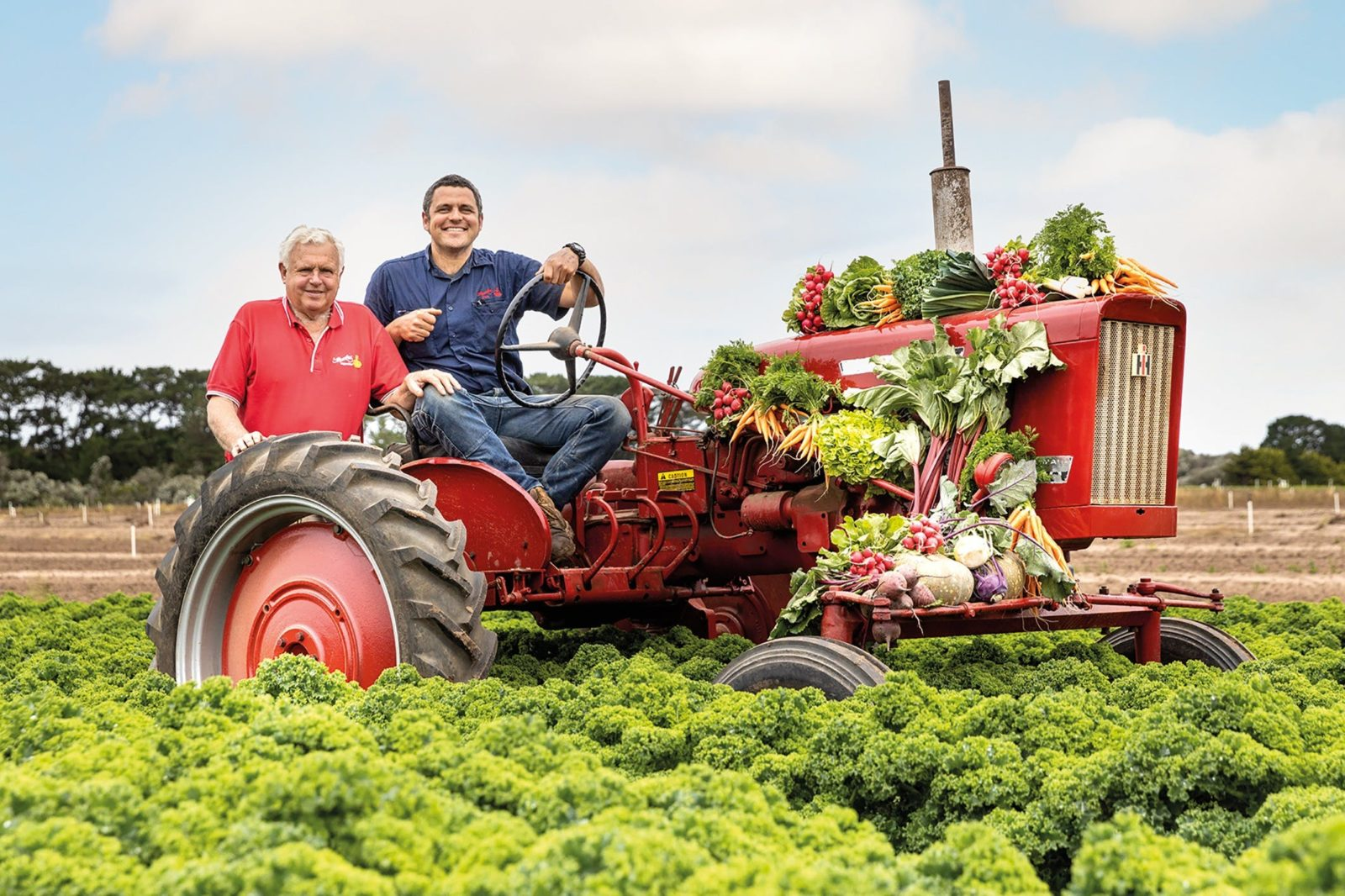 Barry and Richard with vegie tractor