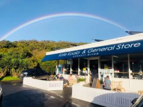Kafe Koala General Store exterior with rainbow