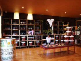 A warm, inviting retail space with buckets and jars of honey and other items lining the walls.