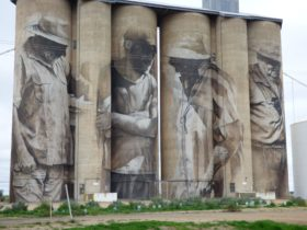Guido van Helten's iconic Brim mural was the first silo artwork to appear in Victoria
