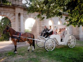 White Wedding Carriage in front of the old Beachworth Hospital for a great Wedding Photo