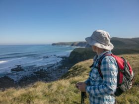 Hiker looking at ocean coastal views of walk from Flinders to Cape Schanck, Mornington Peninsual